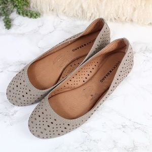 Lucky Brand Taupe Laser Cut Leather Flats